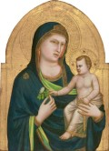 While Duccio—with his reliance on Byzantine traditions, flat planes, and decorative line—can be said to sum up the past, Giotto was recognized even by his contemporaries as anticipating the future. Dante, Boccaccio, and Petrarch all praised his naturalism. Giotto's panel, probably the central section of a five-part altarpiece, was painted late in his career. The colors are sober and restrained. Soft shadows model the Virgin and child. We sense the weight and volume of their bodies and feel the pull of gravity on them. We also sense that they are actors in a quiet drama. We are witnesses to the human interaction between a mother and a child. The infant steadies himself by grasping his mother's finger and reaches—like any baby—for the flower she holds. This emphasis on the humanity of the participants is a departure from the devotional Byzantine tradition, as in the Gallery's Enthroned Madonna and Child, in which the infant Christ does not turn to his mother, but rather offers a blessing to the worshiper. Giotto, Italian, probably 1266 - 1337, Madonna and Child, probably 1320/1330, tempera on panel, Samuel H. Kress Collection